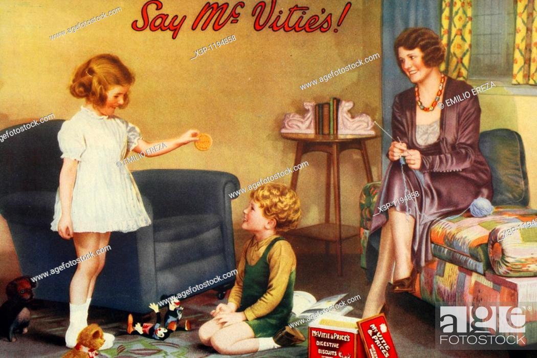 Stock Photo: Mc Vitie's cookies  Antique advertising  1930.