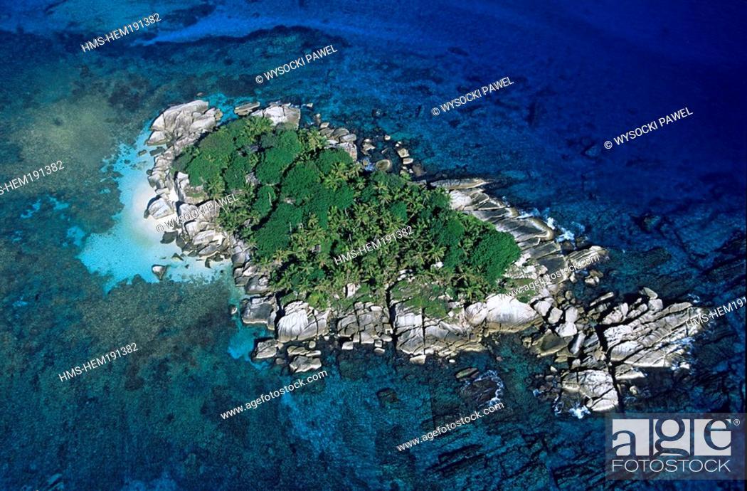 Stock Photo: Seychelles, Cocos Island, near La Digue aerial view.