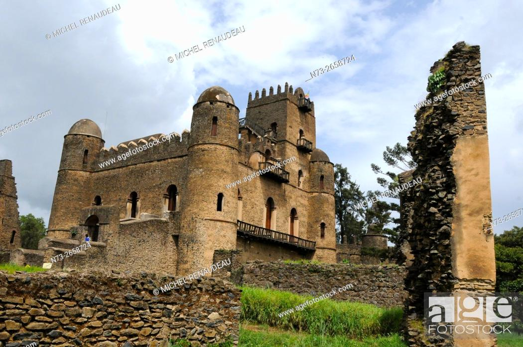 Stock Photo: Ethiopia, Amhara Region, Gondar, Fasil Ghebbi Unesco World Heritage.