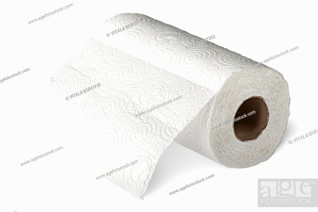 Stock Photo: Roll white paper towels horizontally unrolled isolated on white background.