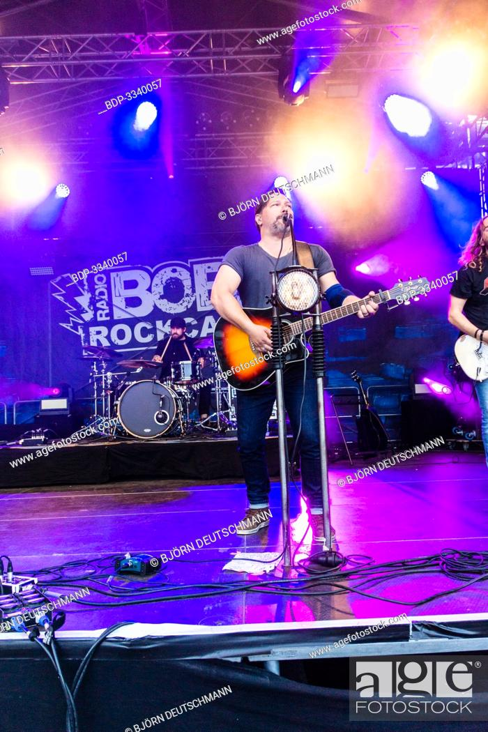 "Stock Photo: Kiel, Germany - June 28tht 2019: The Berlin Band """"Benner"""" is performing on the Radio BOB! Rockcamp during the 12th Kiel Week."