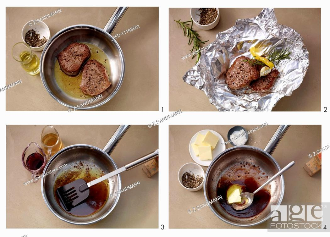 Stock Photo: Making pepper steak with red wine sauce.