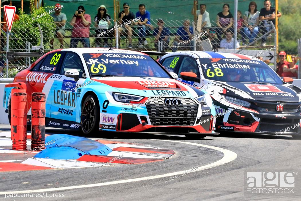 Stock Photo: WTCR 2018: Vila Real. Race of Portugal, Pratice Action. Vernay and Ehrlacher in Chicane Mateus.