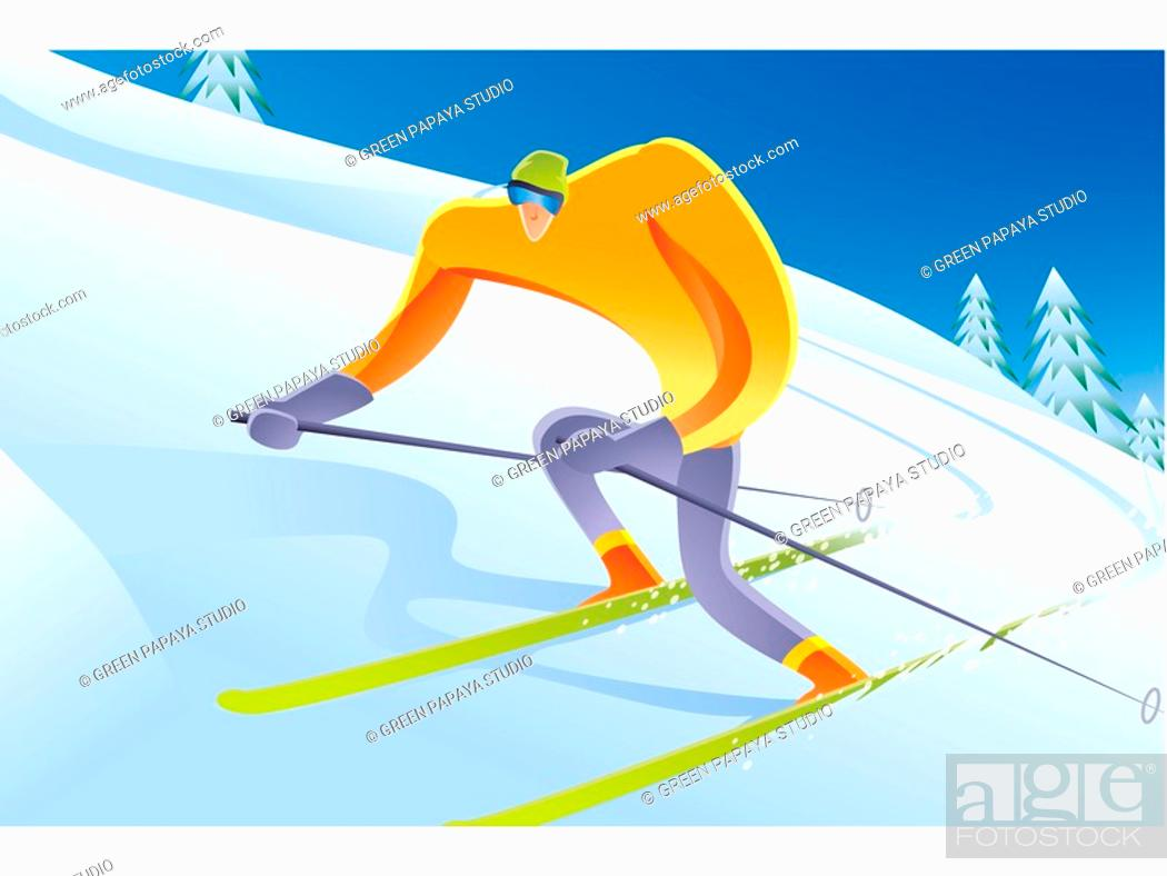 Stock Photo: A man skiing on a snowy slope.