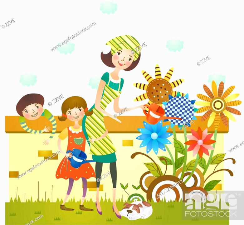 Stock Photo: Mother and daughter watering flower plants in garden.