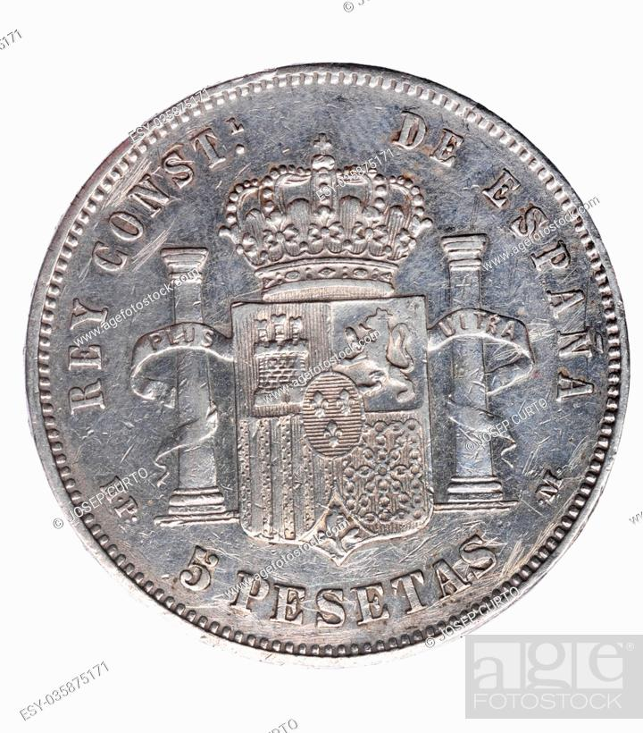 Stock Photo: Reverse of coin of Alfonso XIII, five , pesetas, un duro, 1888, Spain, .