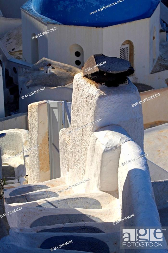 Stock Photo: stairs to the church Agios Charalabos, Greece, Santorin, Oia.