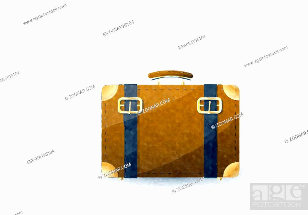 Stock Photo: Watercolor suitcase over white background.