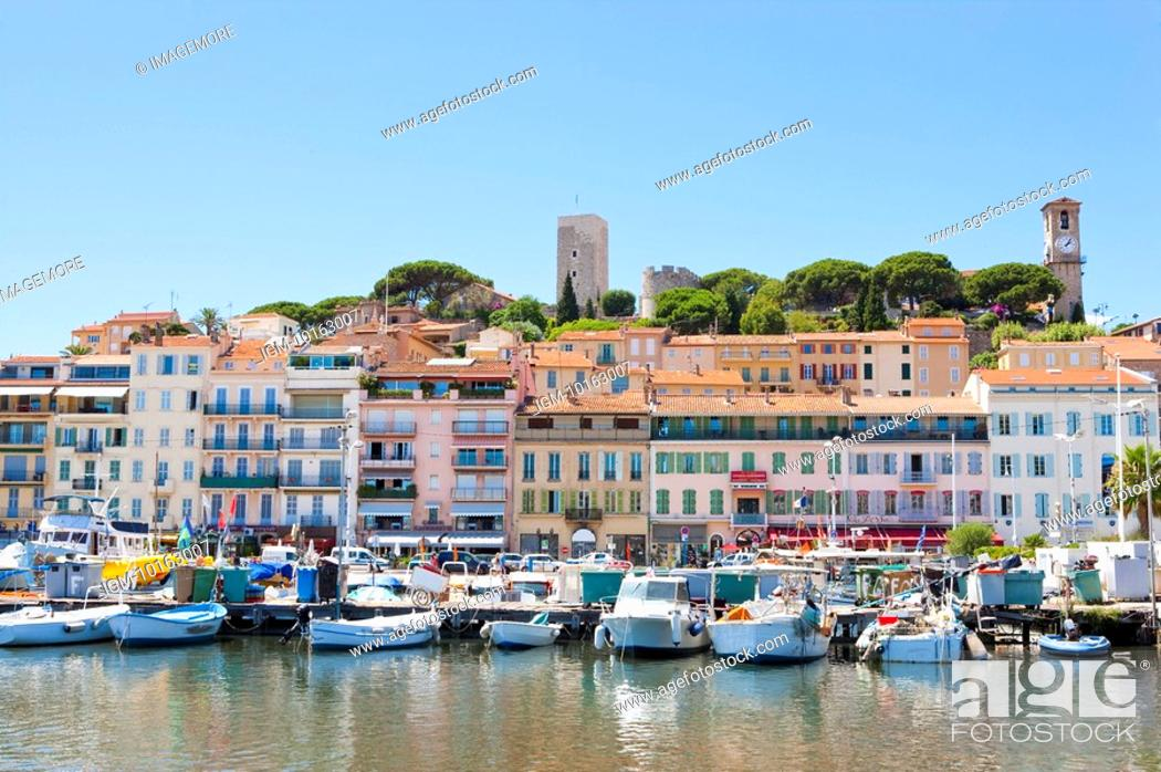 Stock Photo: Harbor and Old Town in Cannes, Provence-Alpes-Cote d'Azur, France, Europe.