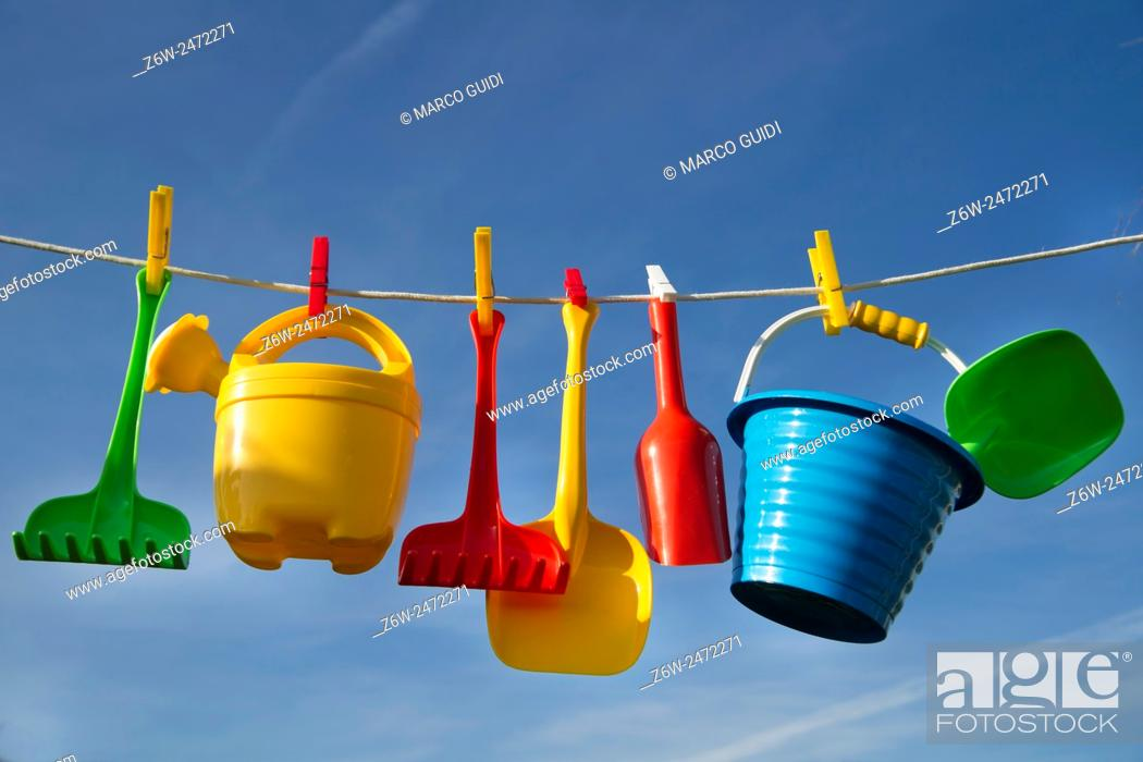 Stock Photo: Summer time representation of beach toys for children.