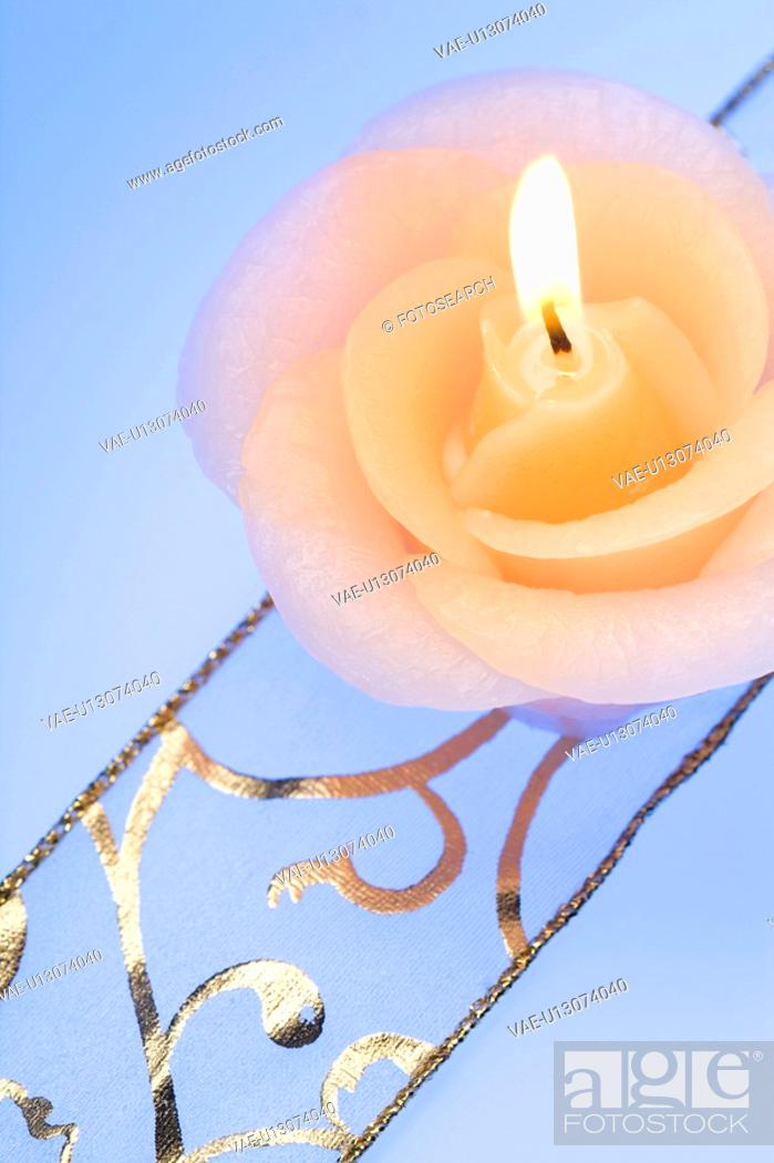 Stock Photo: Rose Candle.