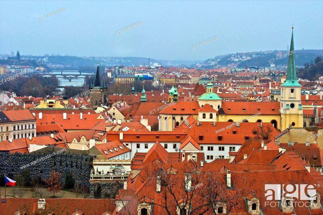 Stock Photo: Czech Republic, Prague, roofs and garden of Wallenstein.