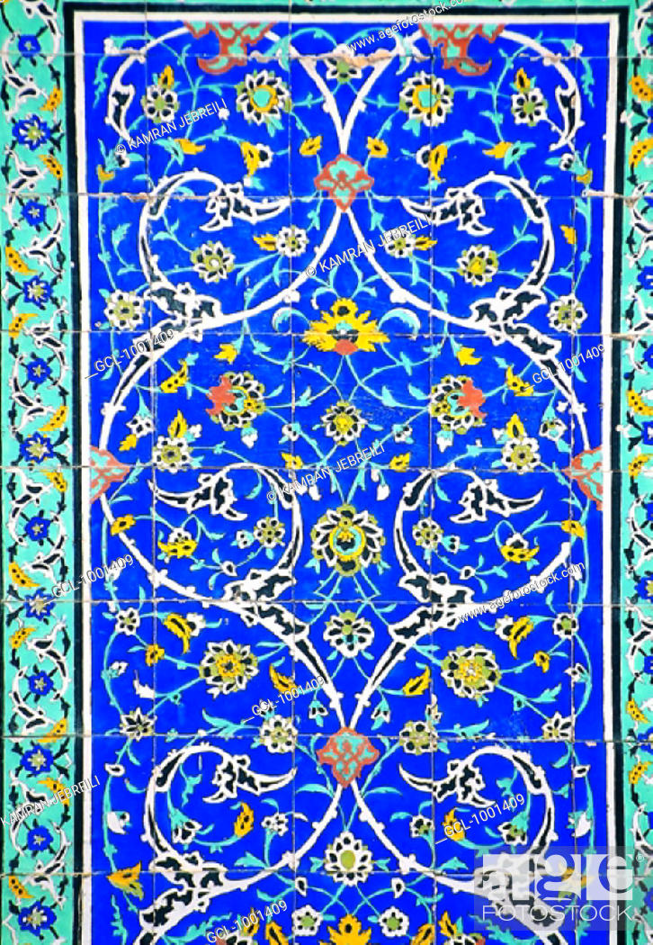 Stock Photo: Floral painting on tiles in Golestan Palace Museum, Tehran, Iran.