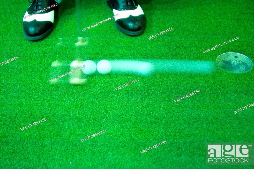 Stock Photo: hole, leisure, ball, putter, club, sports.