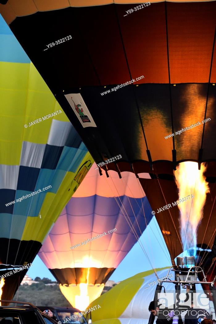 Stock Photo: Preparation of the hot air balloons during the XXI Fai Europeans hot air balloon championship 2019.