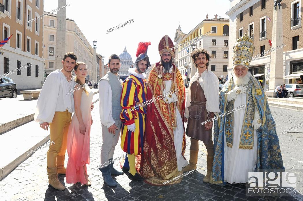 Stock Photo: Actors Manuel William Rapicano, Francesca Dal Lago, Rimi Cerloj, Alessandro Covarelli, Danilo Monardi, Eugenio Di Fraia and Francesco Maria Cordella attend the.