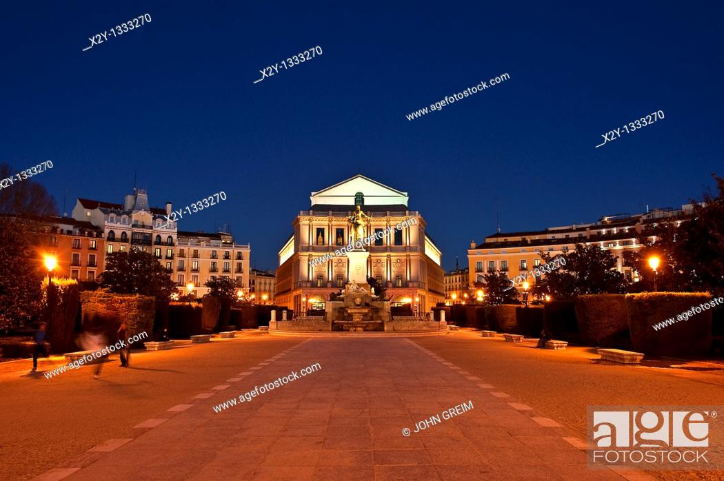 Stock Photo: Plaza de Oriente looking to the Teatro Real at night, Madrid, Spain.