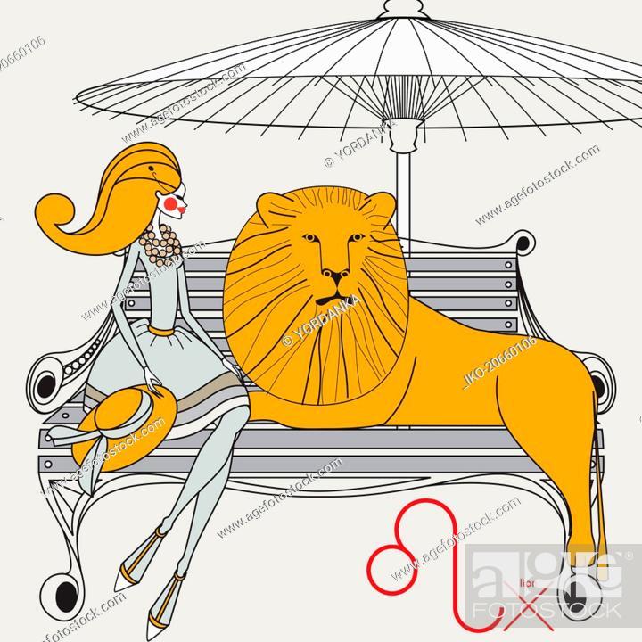 Stock Photo: Fashion model as leo zodiac sign.