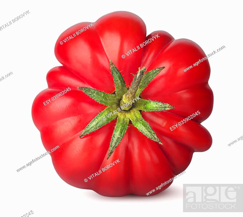 Photo de stock: Fresh heirloom tomato top view isolated on white background.