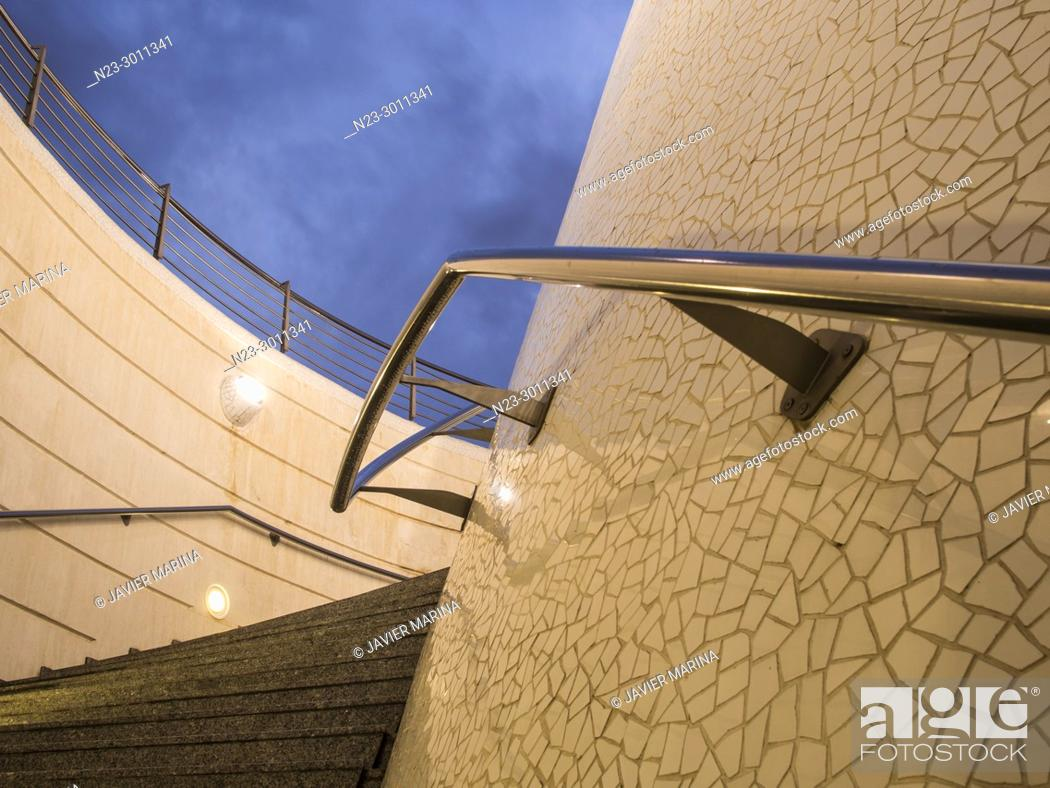Stock Photo: Access stairs to the lower part of the City of Arts and Sciences, Valencia, Spain.