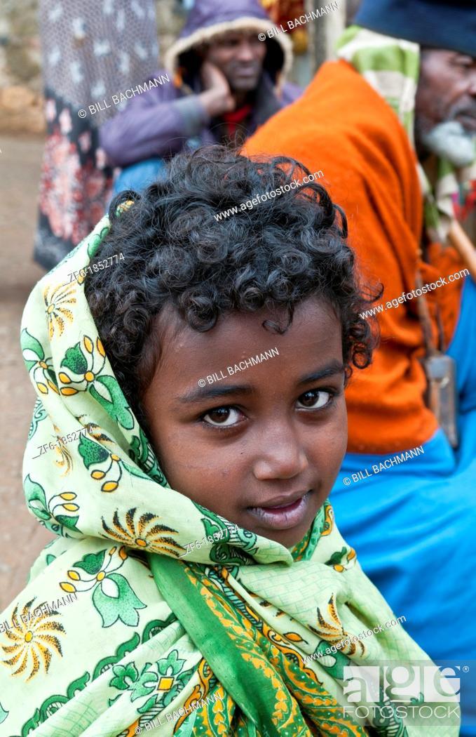 Addis Ababa Ethiopia Africa young Indian dark girl age 6