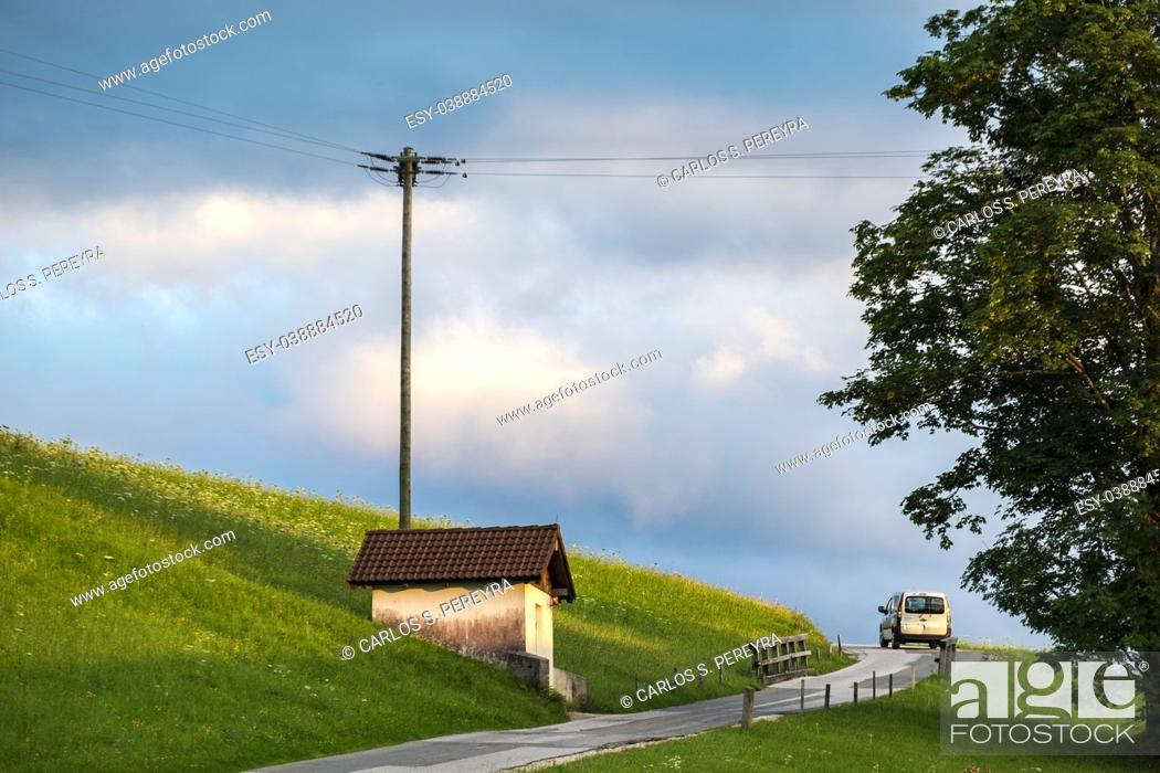 Stock Photo: Rural road in the Alps in Austria Europe.