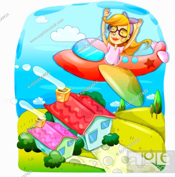 Stock Photo: person, nature, people, airplane, country, trip.