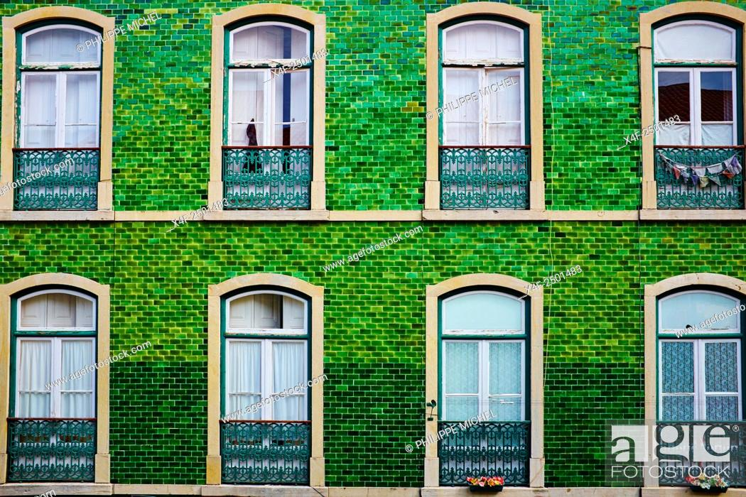 Stock Photo: Portugal, Lisbon, front building in Bairro Alto area.