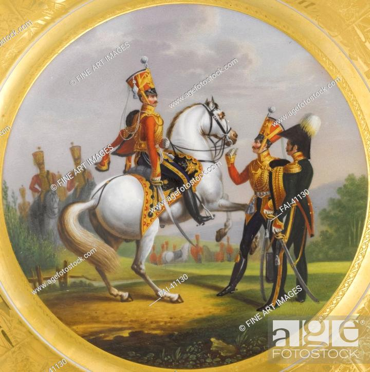 Stock Photo: Chief Officer and Under Officer of the Life-Guards Hussar Regiment by Belousov, Lev Alexandrovich (1806-1864)/Porcelain, overglaze.