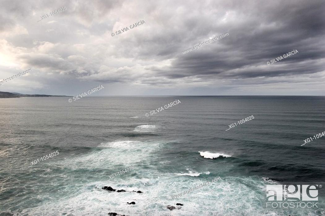 Stock Photo: Cantabrian Sea from Lighthouse Busto, Asturias, Spain.