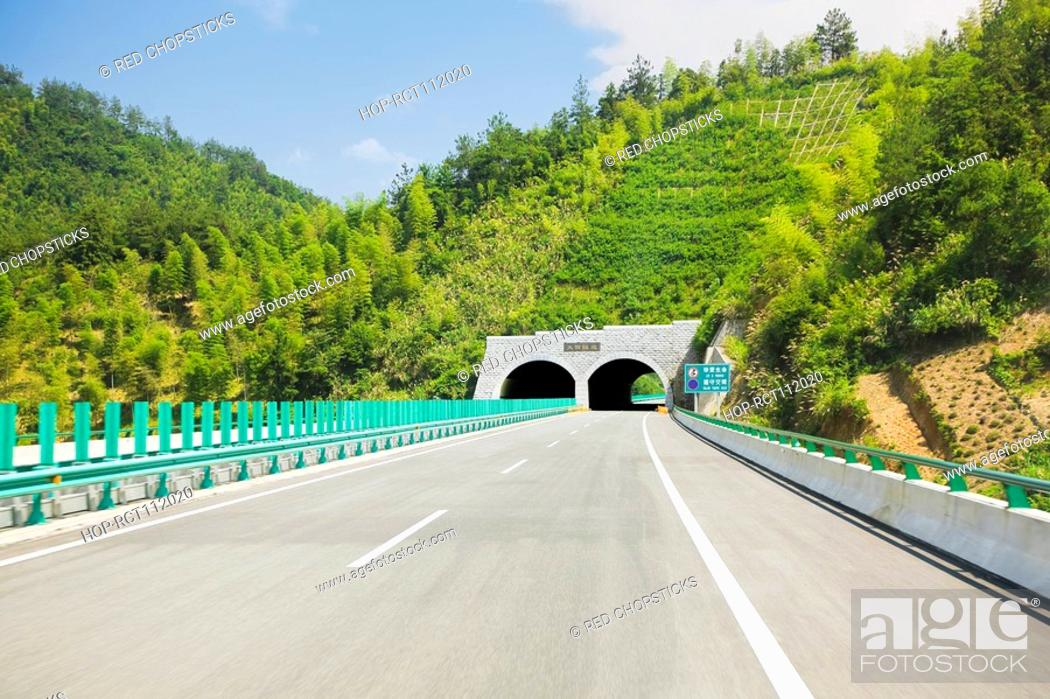 Stock Photo: Road tunnel on a highway, Huangshan, Anhui province, China.