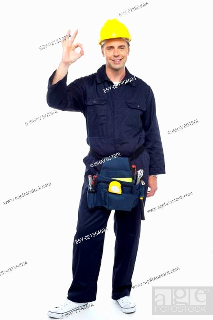 Stock Photo: Great work my team. Senior contractor posing.