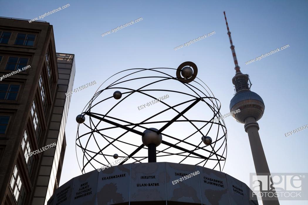 Stock Photo: world clock at alexanderplatz in berlin.