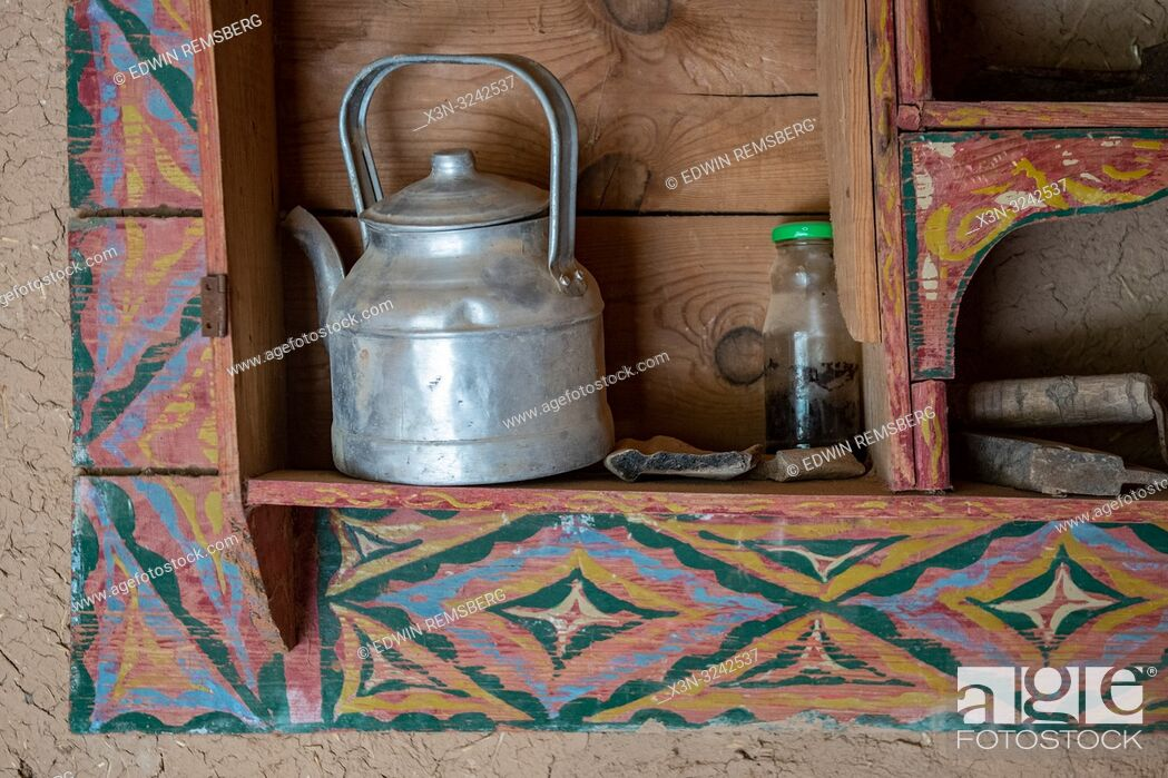Stock Photo: Teapot sits in built in shelf, Tighmert Oasis, Morocco.