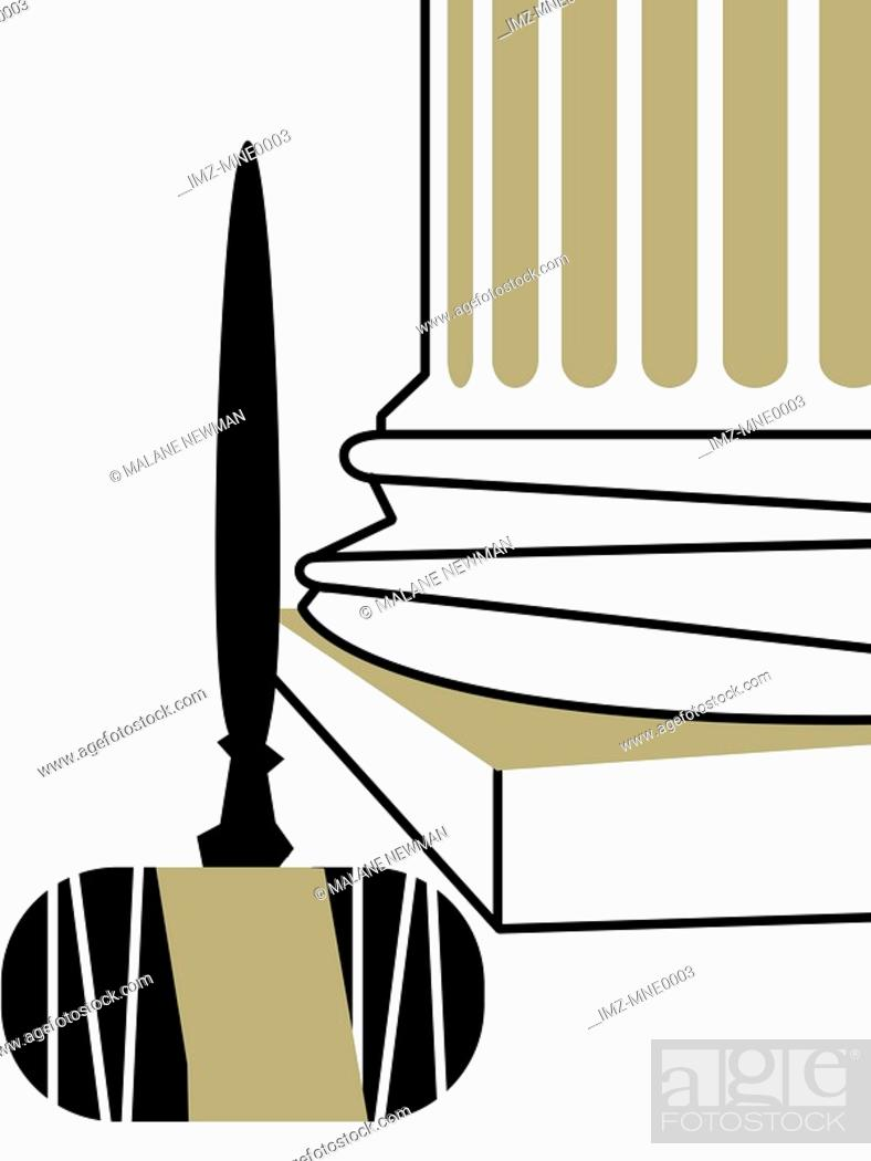Stock Photo: An illustration of an upside down judges gavel at the base of a column.