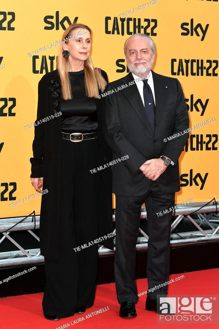 Stock Photo: Aurelio De Laurentiis with wife Jacqueline Baudit during the Red carpet for the Premiere of film tv Catch-22, Rome, ITALY-13-05-2019.