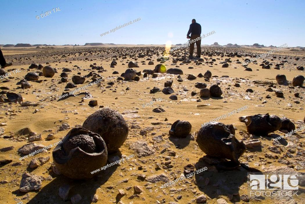 Stock Photo: Photographer taking pictures of the western desert of Egypt.