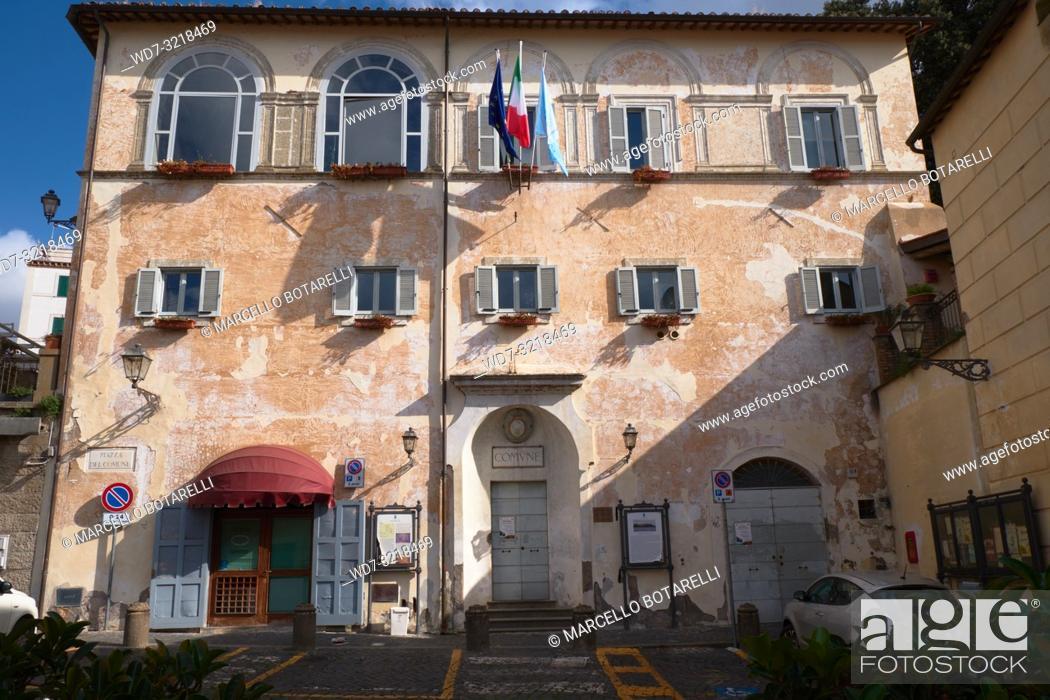 Stock Photo: town hall building, seat of the city council, anguillara sabazia, lazio, italy.