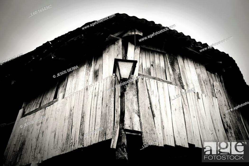 """Stock Photo: Mediaeval village Peñalba de Santiago,""""Valle del SIlencio"""", El Bierzo, Castilla and León, Spain."""