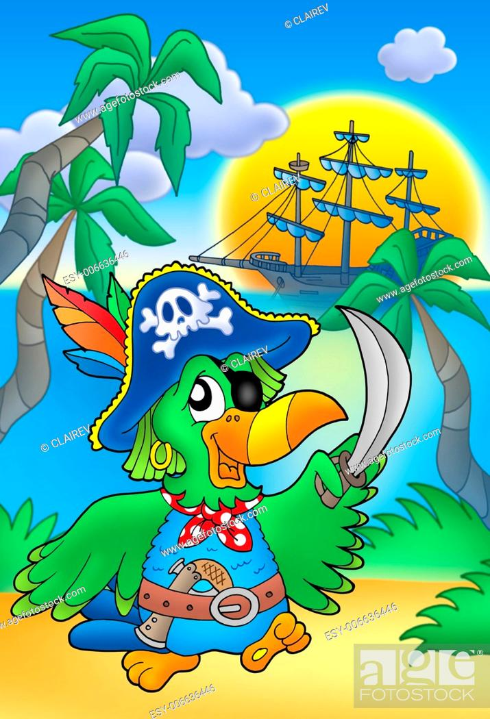 Stock Photo: Pirate parrot with boat - color illustration.