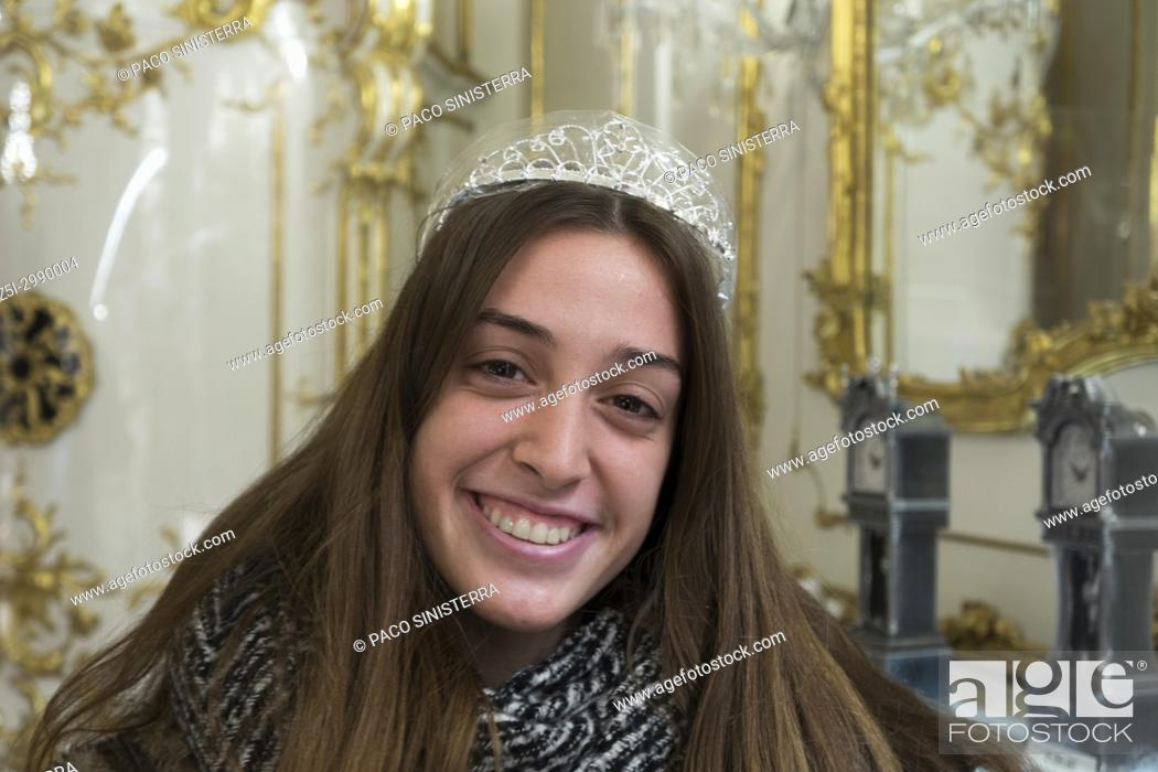 Stock Photo: Pretty girls posing posing with crown in Vienna, Austria.