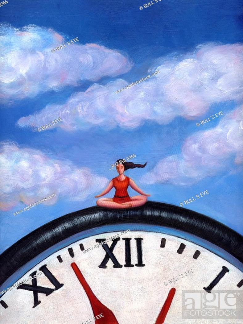 Stock Photo: A woman doing yoga on a giant clock.