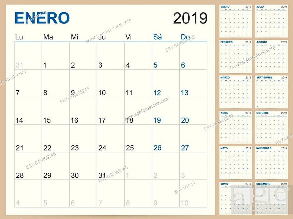 Stock Vector: Spanish planning calendar 2019, Spanish calendar template for year 2019, set of 12 months, week starts on Monday, printable calendar templates vector.