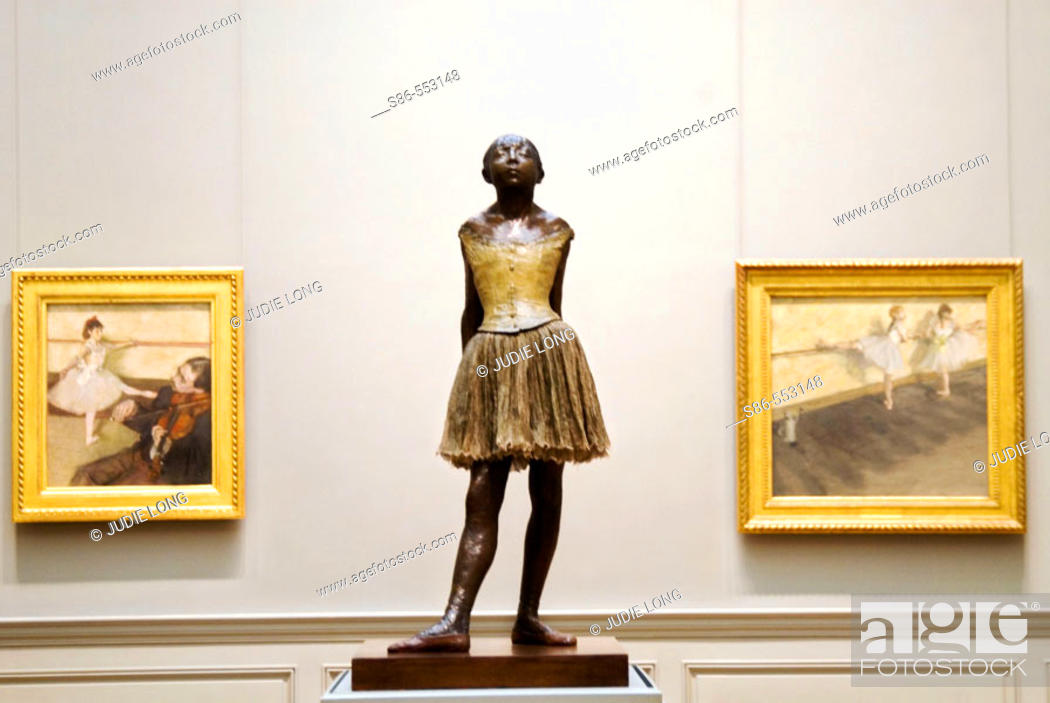 Stock Photo: Degas' 'Little Ballerina' sculpture and two other paintings, Metropolitan Museum of Art, NYC. USA.