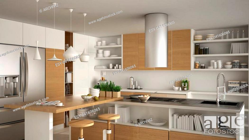 Stock Photo: Modern wooden kitchen with wooden details, close up, island with stools, white minimalistic interior design.