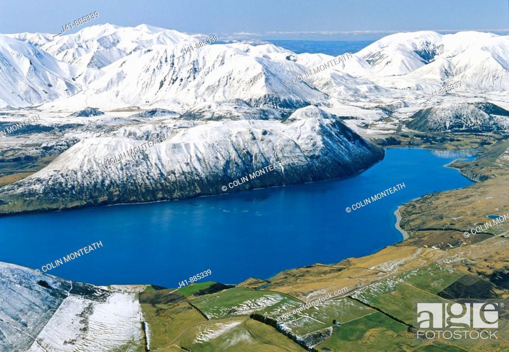 Stock Photo: Lake Coleridge, Canterbury aerial view, New Zealand.