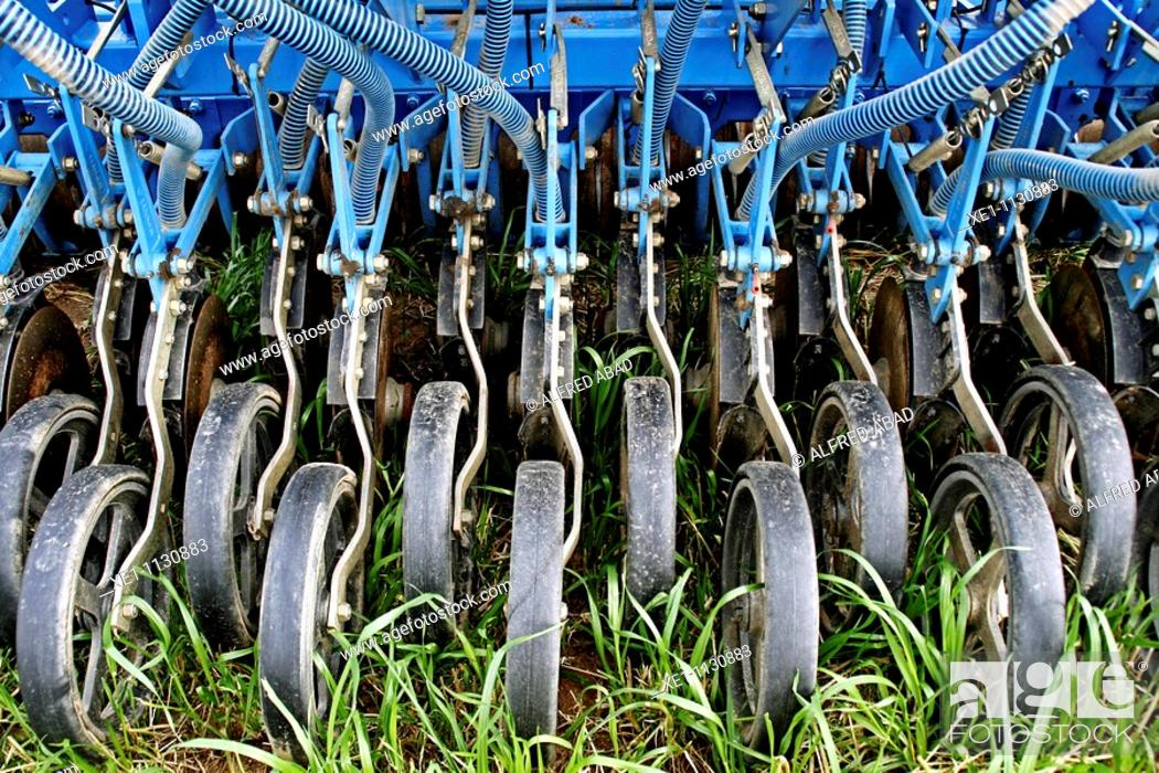 Stock Photo: fertilizer's wheels, agricultural machinery.