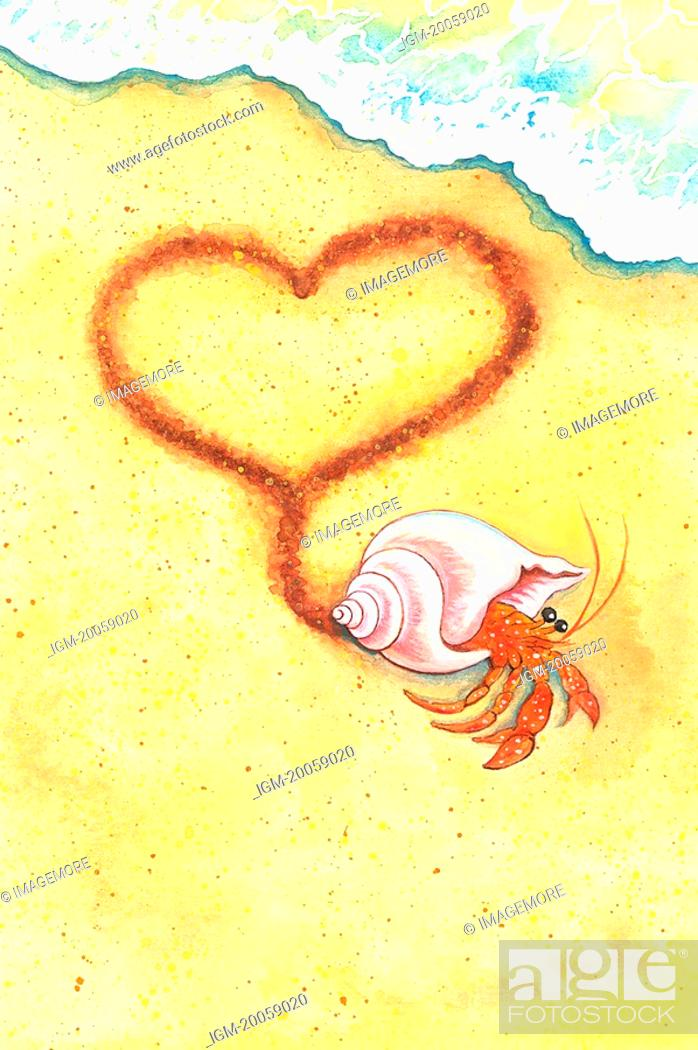 Stock Photo: Animal, Watercolor painting of a crab walking with heart shape on sand.