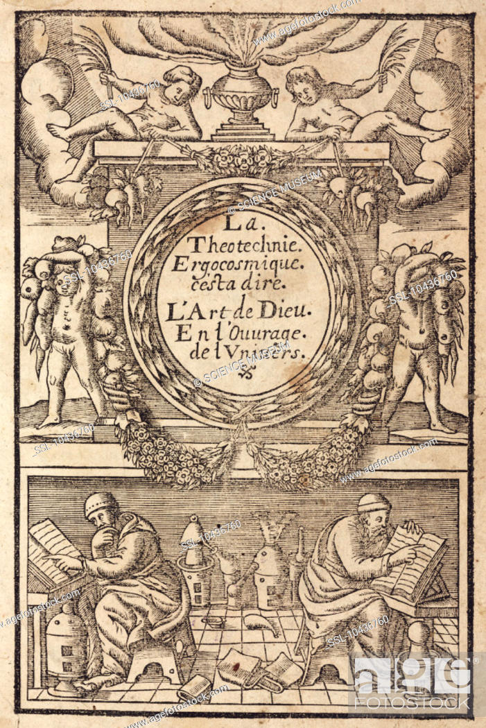 Stock Photo: Woodcut showing the title within a decorative frame surmounted by four putti, two of them holding vegetables. Below, two alchemists are reading from books.