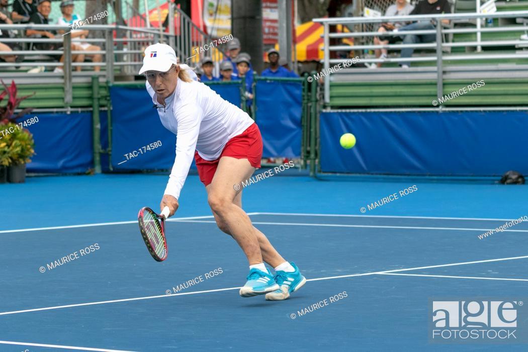 Stock Photo: Martina Navratilova playing in the Chris Evert Pro-Celebrity Tennis Tournament November 23 2019 at the Delray Beach Tennis Center, Delray Beach Florida.